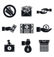 bribery corrupt icon set simple style vector image vector image