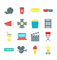 cartoon cinema movie color icons set vector image