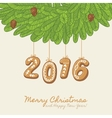 Christmas card with gingerbread year number vector image