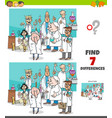 differences game with cartoon scientists group vector image vector image