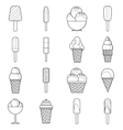 Different ice cream icons set outline style vector image