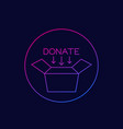 donate icon with box linear vector image