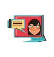 Face woman in computer monitor and speech bubble