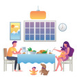 family eating at home vector image vector image