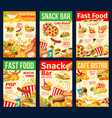 fast food snacks burgers and hot dogs vector image vector image