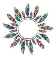 feathers circle frame vector image vector image