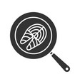fish steak frying on kitchen pan glyph icon vector image