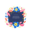 floral circle with text space handdrawn layout vector image