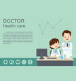 freemale doctor present and sitting at the table vector image vector image