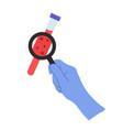hands wearing gloves holding coronavirus test vector image