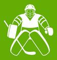 hockey goalkeeper icon green vector image