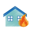 Isolated house on fire design vector image
