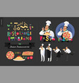 italian restaurant set vector image