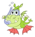Little dragon is diving 2 vector image vector image