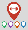 map pointer with gym icon on grey background vector image