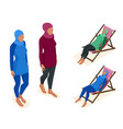 muslim woman in swimsuit isometric muslim vector image vector image