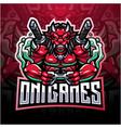 oni games esport mascot logo design vector image vector image