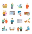 Pensioners life flat icons set vector image