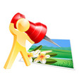 pinning photo man concept vector image