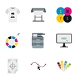 Printing in polygraphy icons set flat style vector image vector image