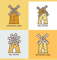 retro windmill logo set wheat bread mill vector image