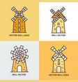 retro windmill logo set wheat bread mill vector image