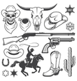 set wild west cowboy designed elements vector image vector image