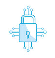 silhouette padlock with circuits to security vector image