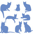 silhouettes of a sitting blue cats icon vector image vector image