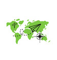 tourism and travel concept plane flying vector image vector image