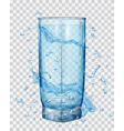Transparent glass with water splashes vector image vector image