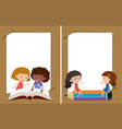 two background templates with girls reading vector image vector image