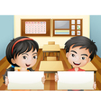 Two smiling teenagers with empty signages vector image vector image