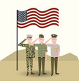 usa flag with veterans military soldiers vector image vector image