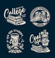 vintage college emblems set vector image