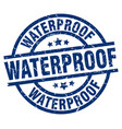 waterproof blue round grunge stamp vector image vector image