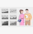 workers closeup charts and graphs job vector image vector image