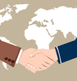 World Map Business Success handshake vector image vector image