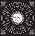 zodiac circle with horoscope signs sun and moon vector image