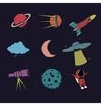 Cartoon space element set vector image