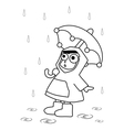Among Children Umbrella Rain vector image vector image