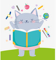 back to school cute cat reading book supplies vector image