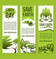 banners save nature or earth day templates vector image vector image
