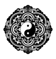 Black and white henna tatoo mandala Yin vector image vector image