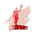 bodybuilder silhouette posing vector image vector image