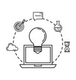bulb light with laptop and business icons vector image