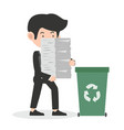 businessman holding papers recycling concept vector image vector image