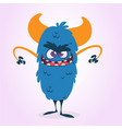 cartoon blue monster character vector image vector image