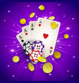 casino banner with tokens coins playing cards vector image vector image