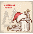 Christmas cardDrawing image of successful fishing
